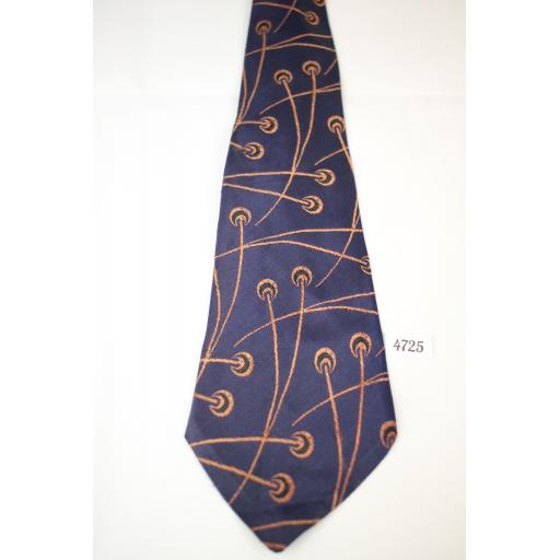 1940s 1950s Vintage Unbranded Navy Embroidered Pattern Tie Outstanding Design