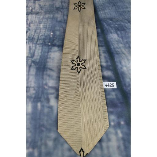 Vintage 1950s Arrow Pin Stripe Daisy Pattern Tie Narrow/Skinny Jim/Rat Pack/ Mod