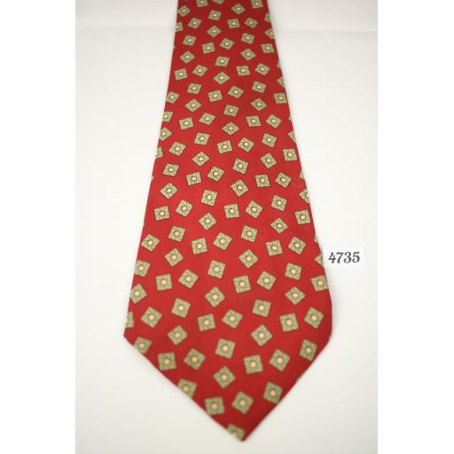 Vintage Hollyvogue California All Silk Red & Olive Square Repeat Pattern Tie