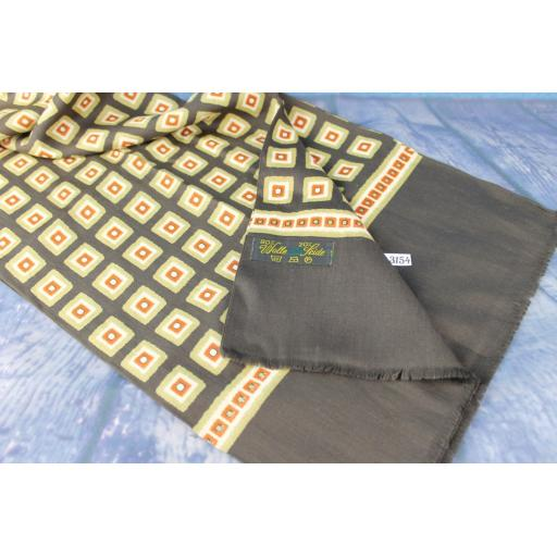 Vintage Designer German Wool & Silk Brown Beige & Terracotta Squares Pattern Scarf