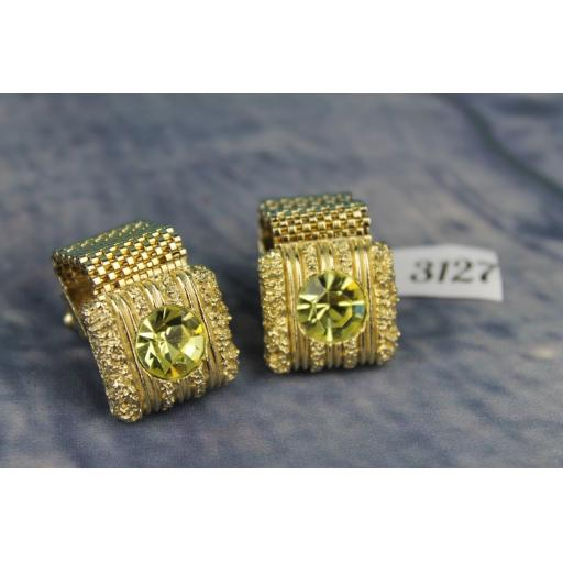 Vintage SWANK 1980s  Bling Large Gold Metal Wrap Around Cufflinks Faceted Green Glass  Stones