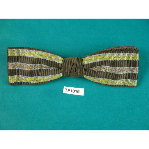 Vintage Mustard, Grey, Brown Striped Square End Jacquard Clip On Bow Tie