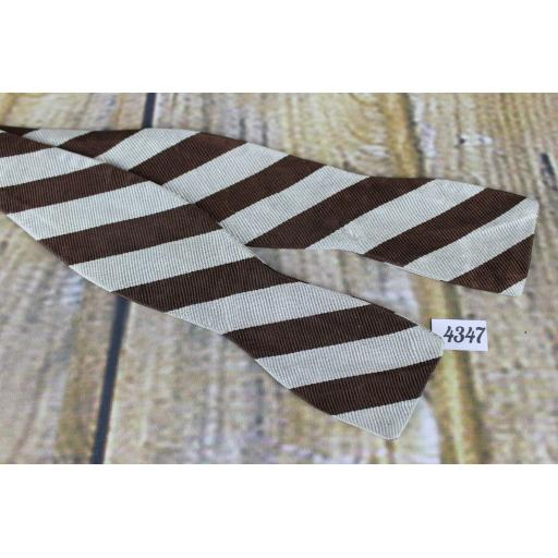 Superb Vintage Van Boven Silver & Brown Broad Stripe Self Tie Slim Thistle Bow Tie