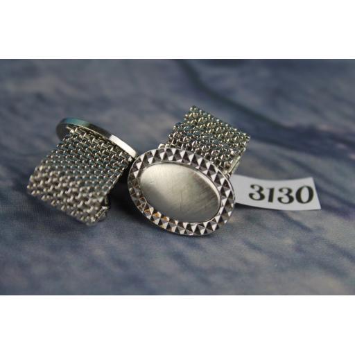 Vintage 1980s Large Silver Metal Oval Wrap Around Cufflinks