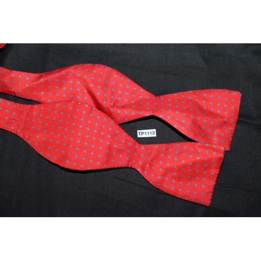 100% Silk Self Tie Straight End Thistle Bow Tie Red Blue Polka Dot Pattern