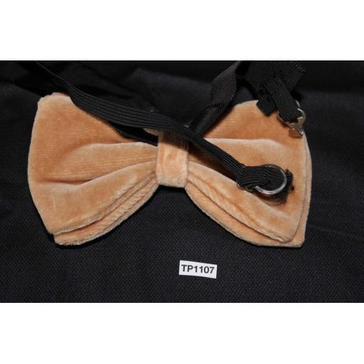 Vintage 1970s Pre-Tied Bow Tie Taupe Velvet One Size Fits all