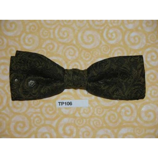 Vintage Clip On Bow Tie Dark Olive Woven Pattern & Random White Flower