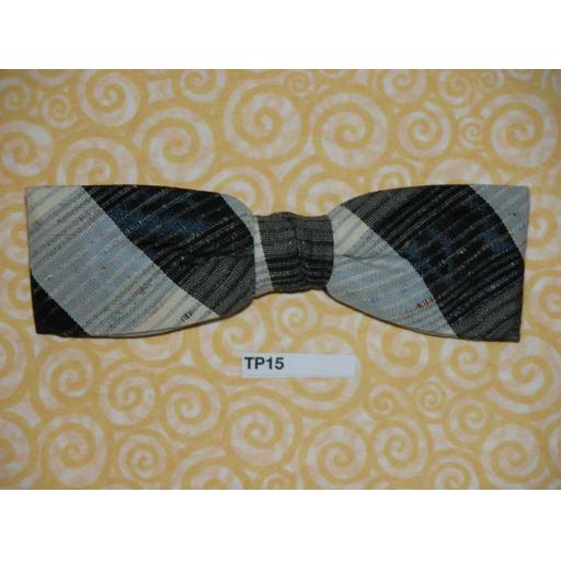 Vintage 1950s Clip On Bow Tie Black/Grey Slubbed Weave U.S.A