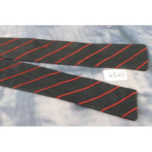 Superb Vintage All Silk Red & Black Self Tie Square End Skinny Bow Tie