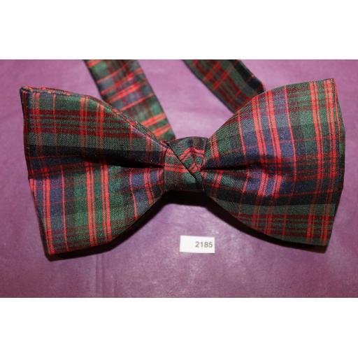 Vintage 100% Silk Tartan Plaid Pre Tied Adjustable Length Bow Tie Green Burgundy