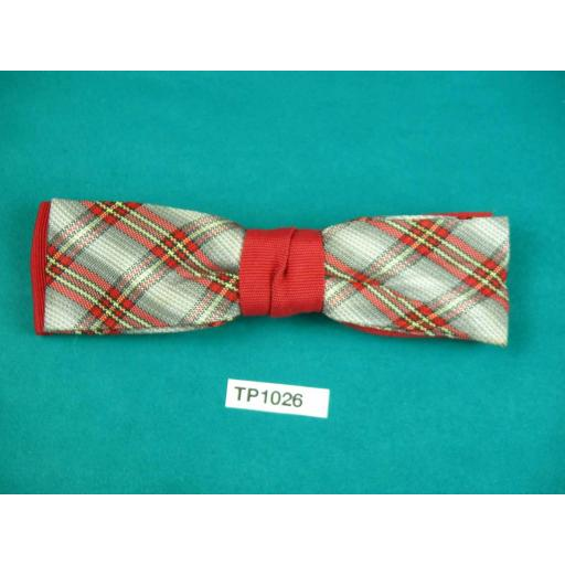 Vintage Boy's Red & Grey Tartan Over Red Double Bow Square End Clip On Bow Tie