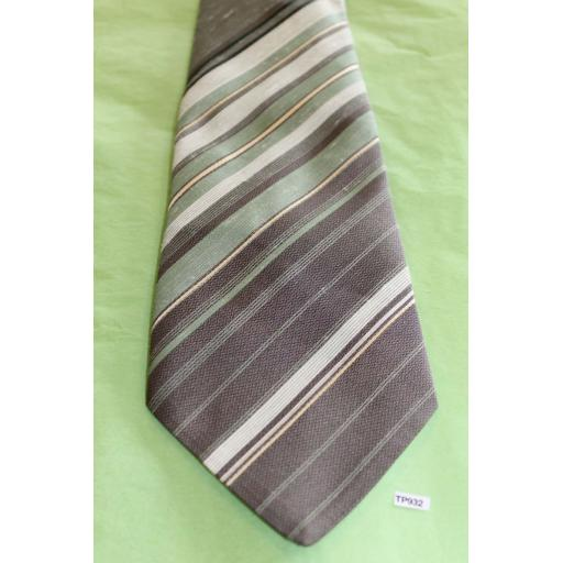 "Vintage Retro Tootal 1970's Wide Kipper Tie Mint Green & Grey Stripe 4.75"" Wide!"