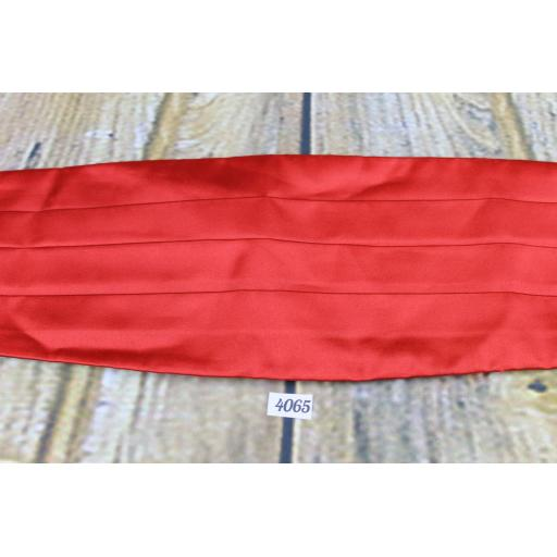 Red Satin Adjustable & Elasticated Pleated Cummerbund