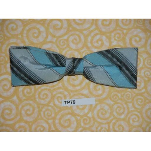 Vintage Clip On Bow Tie Pale Blue, Grey & Black Striped