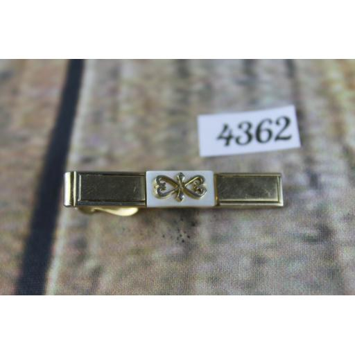 """Vintage SWANK Tie Clip Gold Metal With White Lucite And Scrollwork Design 1.5"""""""