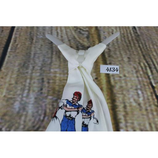 Vintage Line Dancers White Clip On Western/Cowboy/Kentucky/Square Dance Bow Tie