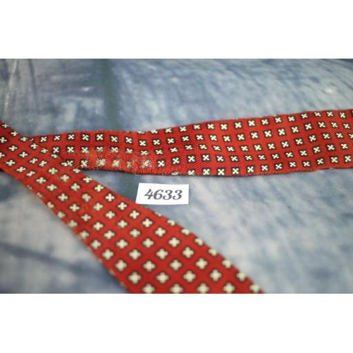 Vintage Self Tie Straight End Skinny Bow Tie Red with Small White Crosses