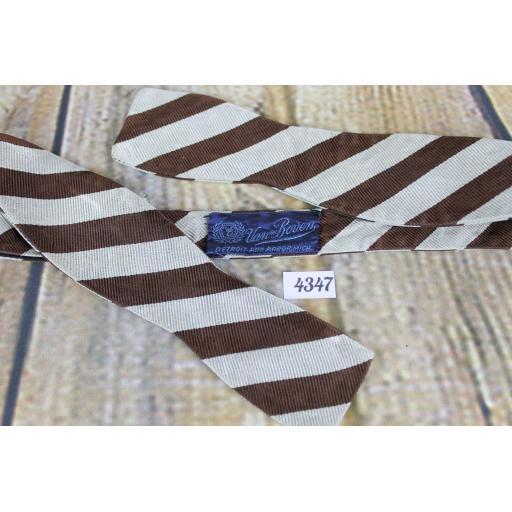 Superb Vintage Van Boven Silver & Brown Broad Stripe Self Tie Slim Thistle Bow Tie