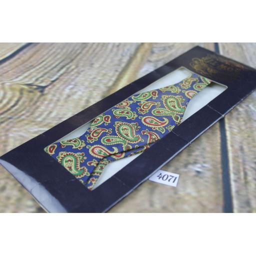 Vintage New Tie Rack Blue Paisley Pattern Self Tie Square End Thistle Bow Tie