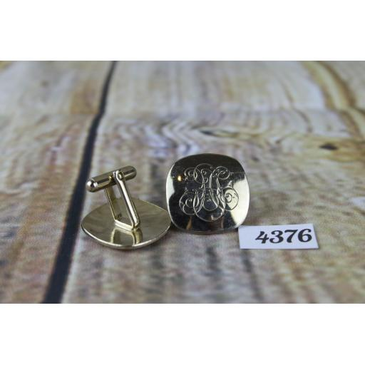"Vintage Large Gold Metal Engraved Scroll Work Cuff Links 7/8"" Square"