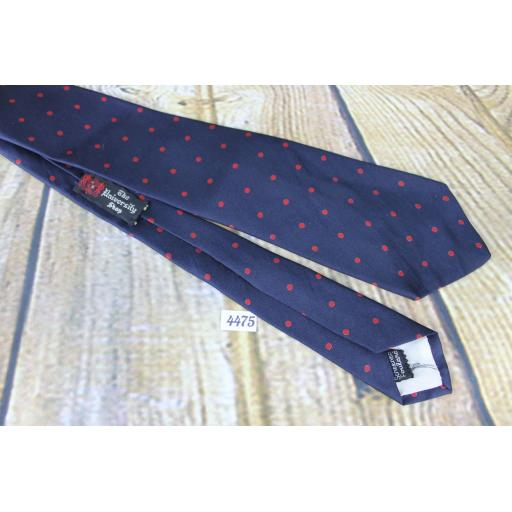 Vintage All Silk Foullard Hand Screened Resilio 1960s Skinny Mod Era Paisley Tie Navy & Red Polka Dot