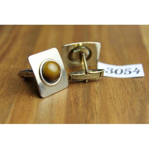 Vintage Silver Metal & Tigers Eye Square Cuff Links