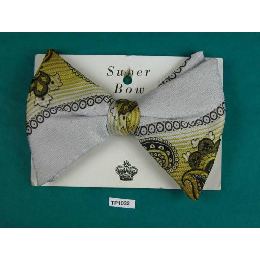 Super Bow Vintage Yellow & Grey Paisley Large Clip On Bow Tie