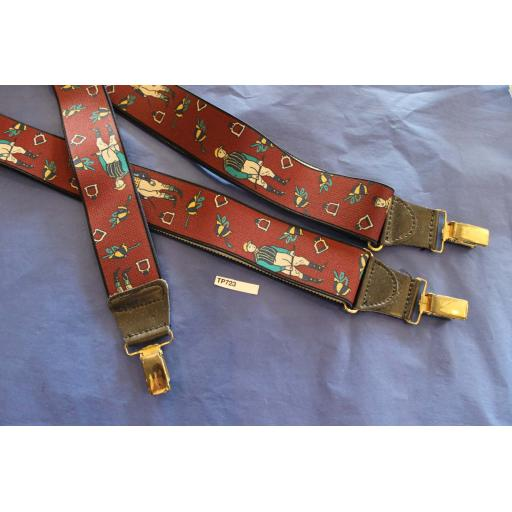 Vintage Retro Wide Clip On Elasticated Horse Racing Jockey Braces 80s/Wall Street