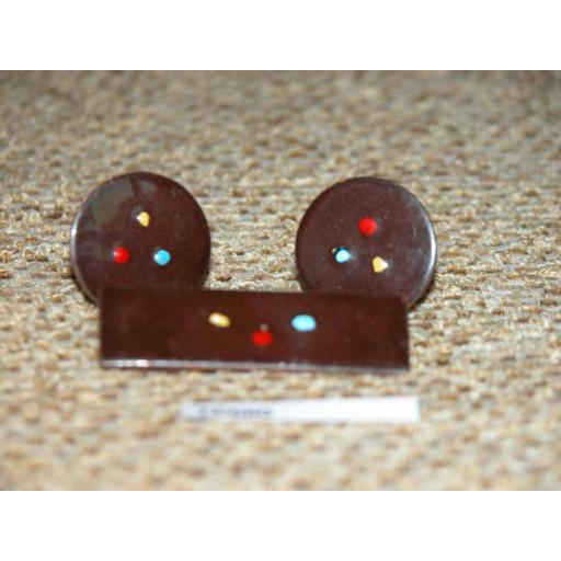 Vintage Enamelled Copper Cuff Links & Tie Clip Set Dark Brown