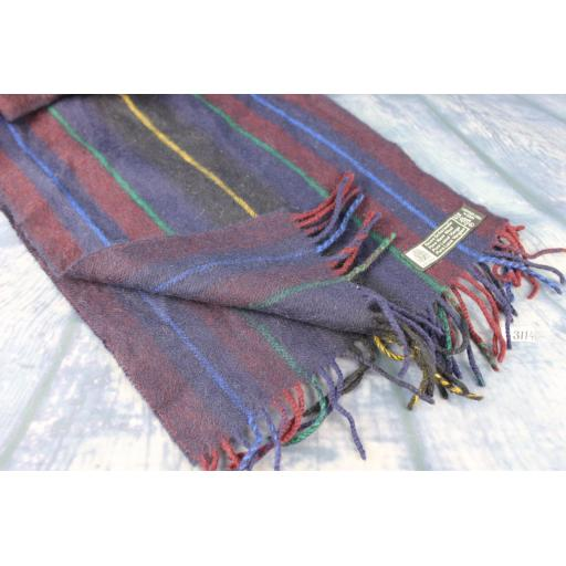 Vintage German Designer Pure Wool Striped Blue Green Gold & Burgundy Scarf