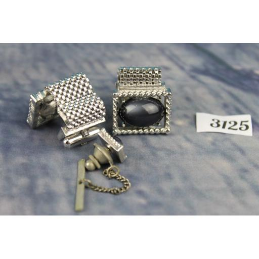 Vintage SWANK 1980s Bling Large Silver Metal Wrap Around Cufflinks & Tie Pin Set Pearlised Blue Oval Lucite Stones HIDDEN
