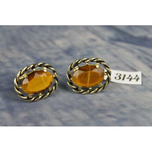 Vintage Large Gold Metal Tigers Eye Stone Cufflinks
