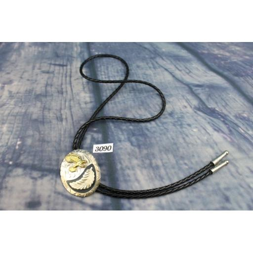VINTAGE WESTERN WEAR GOLD & SILVER METAL EAGLE & FEATHER PLAITED LEATHER THONG BOLO TIE