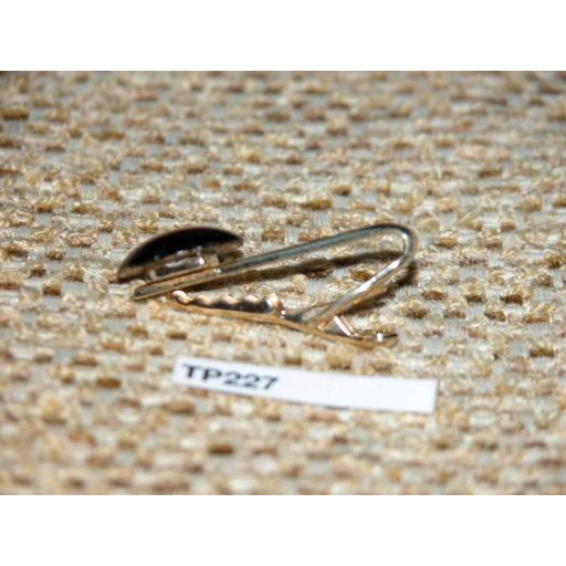 Vintage Gold Metal Tie Clip Large Round Violet Glass Stone TP227