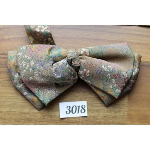 Pre-tied Brown and Multi-Colour Flower Pattern Soft Small Bow Tie