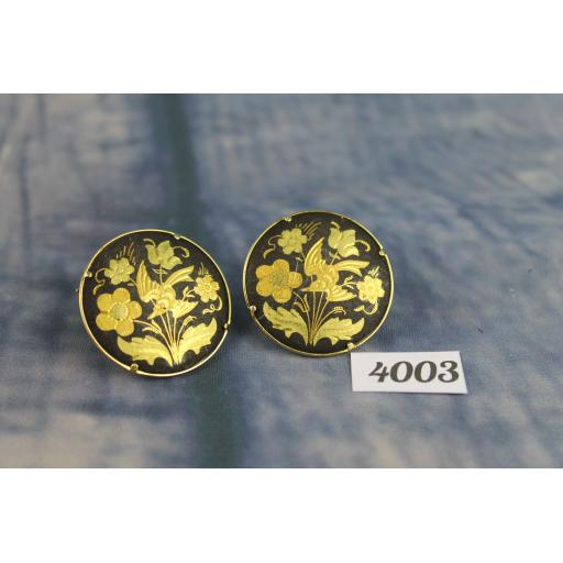 Vintage large Round Bird Flower & Foliage Cufflinks
