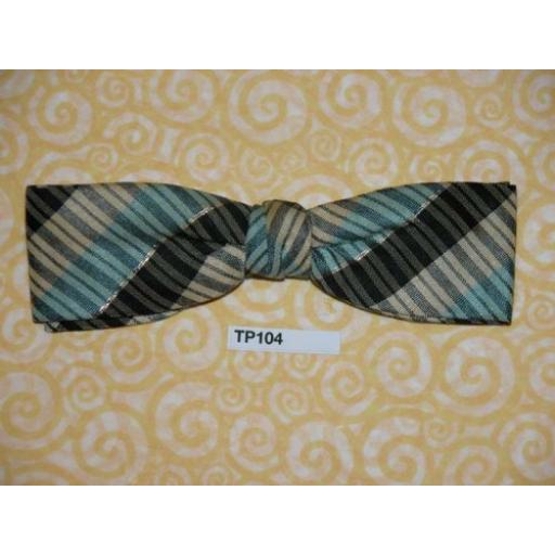 Vintage Clip On Bow Tie Blue/Light Blue/Cream With Silver Pinstripe