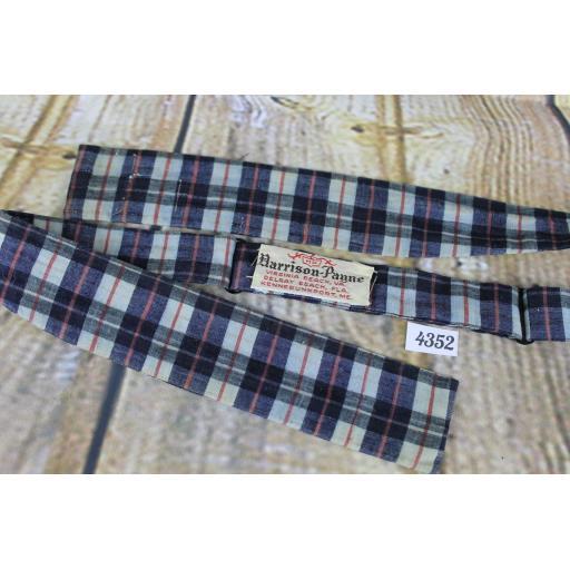 Superb Vintage Virginia Payne Tartan Plaid Denim Blue Self Tie Paddle Bow Tie