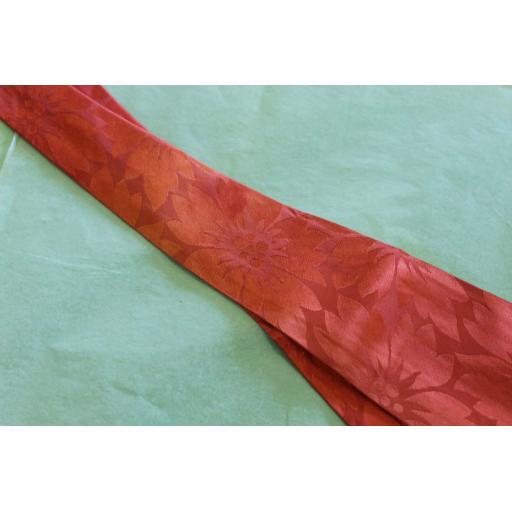 "Superb Vintage Exclusive 1940s/50s Floral Burnt Orange Jacquard Tie 5"" Lindyhop/Swing/Zoot Suit/Rat Pack Belly Warmer"