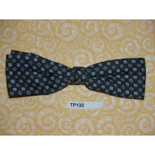 Vintage Clip On Bow Tie Dark Blue Pattern
