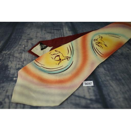 Superb Vintage 1940s 1950s Louvre Cravat Hand Painted Horses Tie Lindyhop/Swing/Zoot Suit/Rat Pack