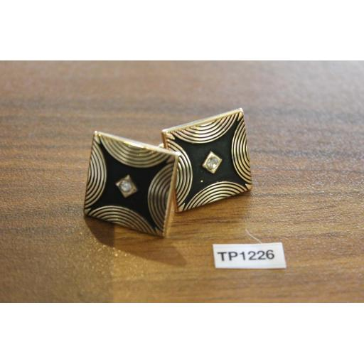 Vintage Swank Gold Metal & Black Art Deco Style Cuff Links