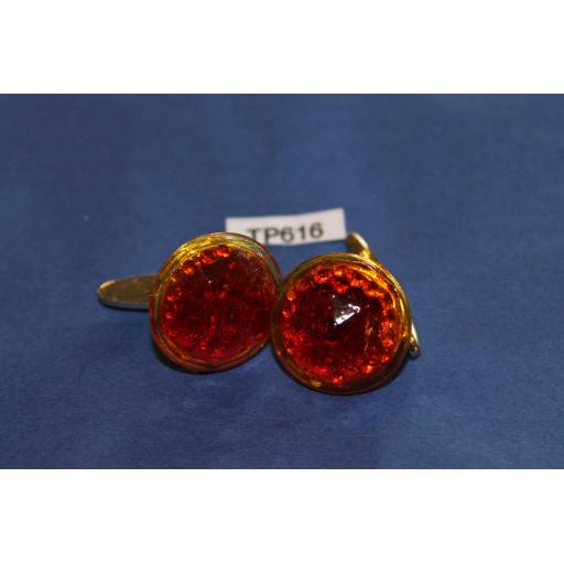 Vintage Cuff Links Gold Metal Large Round Faceted Glass Stones
