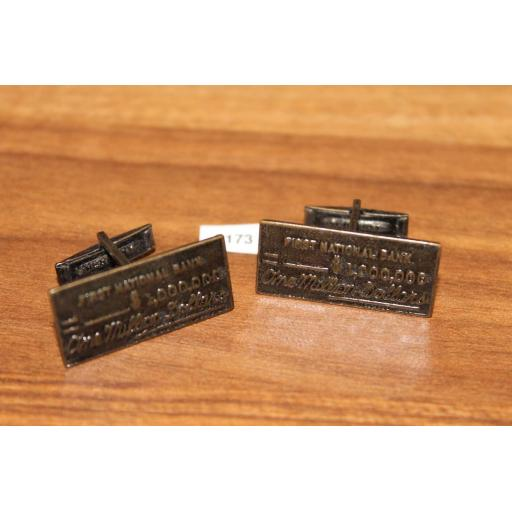 Vintage One Million Dollar Cheque Cuff Links