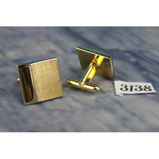 Vintage SWANK Gold Metal Cufflinks, Part Brushed