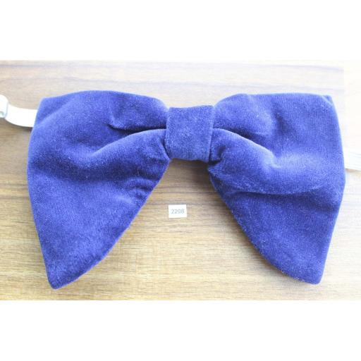 Vintage 1970s Pre-Tied Large, Drop Bow Tie, Royal Blue Velvet One Size Fits all