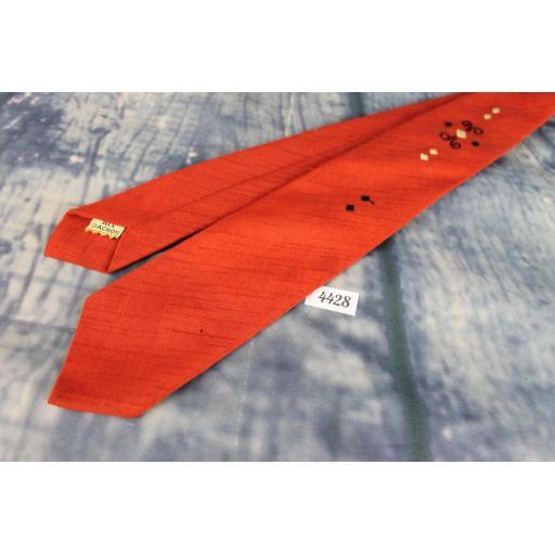 Vintage 1960s Black Red Tie Narrow/Skinny Jim/Rat Pack/Deco Style Mod