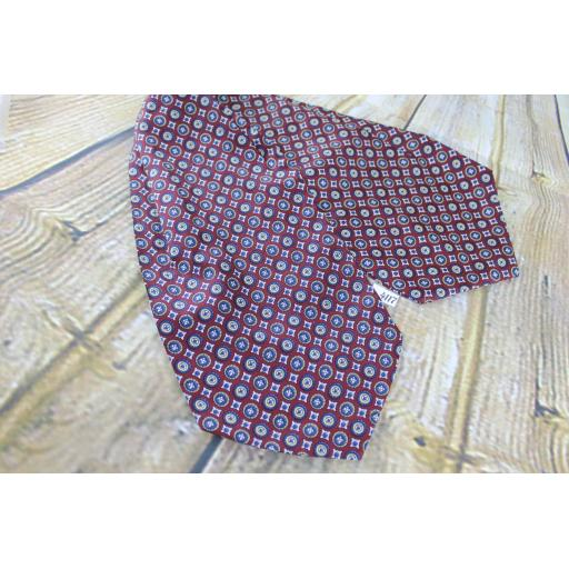 Vintage Burgundy & Navy Circles Pattern Wide Cravat Retro Mod