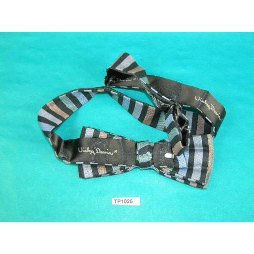 Vintage Striped Blue Green Black Vicky Davies Square End Pre Tied Adjustable Length Bow Tie