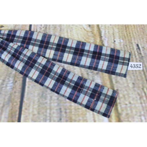 Superb Vintage Virginia Payne Tartan Plaid Denim Blue Self Tie Paddle Bow Tie